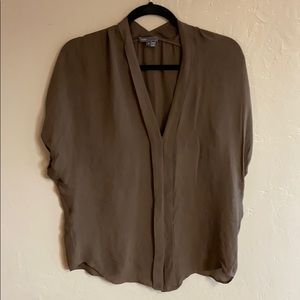 Vince Olive Green Silk Dolman Sleeve Blouse